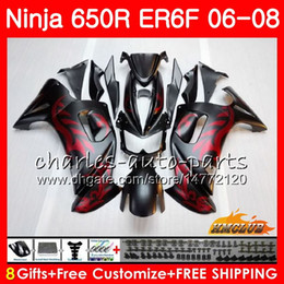 Body For KAWASAKI NINJA 650R ER6 F 650 R ER6F 06 07 08 Cowling 29HC.0 Ninja650R ER-6F 06 08 ER 6F 2006 2007 2008 Fairing Kit Matte red black
