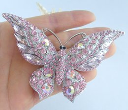 Gorgeous Butterfly Brooch Pin w Pink Rhinestone Crystals EE04538C3