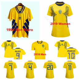 Women Men Sweden Soccer Home Yellow 18 Rolfo Jersey 11 Blackstenius 9 Asllani 1994 Vintage 2018 2019 World Cup Football Shirt Kits Uniform