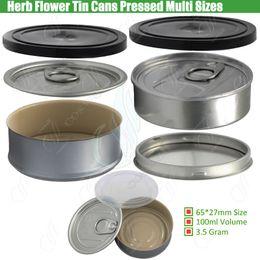 Empty Dry Herb Flower Tin Cans Pre Sealed Sealing Lid Cover Pressed Cap Bottom Custom Label as Smartbud Smart BUD Carts Organic Cali Diamond