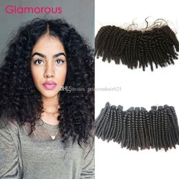 Glamorous Brazilian Virgin Human Hair Cambodian Mongolian Kinky Curly Hair Weaves with Frontal 13x4 Ear to Ear Lace Frontal Closure 4Pcs Lot