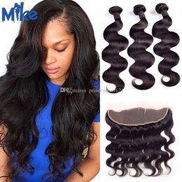 MikeHAIR Brazilian Human Hair Weaves with Frontal Peruvian Malaysian Indian Body Wave Hair 3 Bundles With Ear to Ear Lace Frontal Closure