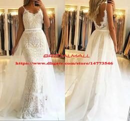 Applique Lace Overskirts Evening Dresses Mermaid 2019 Spaghetti Straps Formal Party Gowns Detachable Train Long Prom Dress Robe de soirée