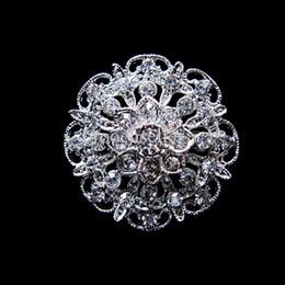 Beautiful Silver Plated Small Flower Rhinestone Crystal Collar Brooch