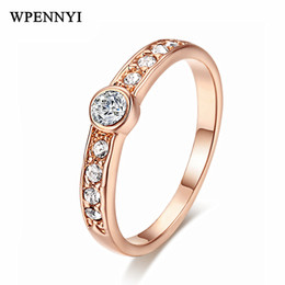 Simple Style Rose Gold Color 2mm Width Tiny Zirconia Crystal Cute Woman Finger Rings Wholesale