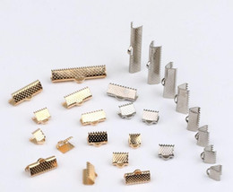 Free shipping 200pcs, 6-30mm Gold silver Plated Clips Ribbon Clamps Connectors ribbon crimp for DIY bracelet Jewelry Findings Wholesale