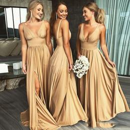 2019 New Arrival Sexy V Neck Side Split Gold Bridesmaid Dresses Floor Length Champagne Beach Boho Wedding Guest Dresses Custom Made
