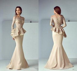 CHEAP Champagne Lace Stain Peplum Wear Arabic Prom Dresses Long 2020 Sheer Neck Long Sleeve Dubai Mermaid Long Evening Formal Gowns
