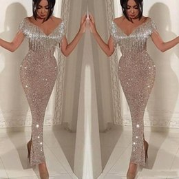Silver Sparkly Mermaid Tassel Prom Dresses 2019 Afraic Girl Formal Party Gown Evening Dresses Sexy Sequins Sparkly Pageant Drseses BC0474