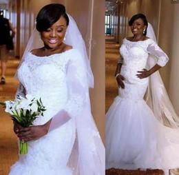 bbd87985210 Plus Size Wedding Dresses Scoop 3 4 long Sleeves Nigeria Lace Appliques  Mermaid Wedding Dress sweep Train Saudi African Bridal Gowns
