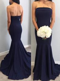 Navy Blue 2019 New Arrival Cheap Bridesmaid Dresses Strapless Floor Length Pleats Maid of Honor Dresses robes de demoiselle d'honneur BM0341