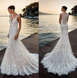 Ivory Deep V Neck Mermaid Wedding Dress Full Lace Appliques Sheer Back Boho Summer Beach Mermaid Wedding Bridal Gowns Robe De Mariee