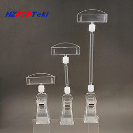 Clear POP Plastic Rotatable Sign Memo Card Price Tag Paper Display Holder Signage Clip By Rubber Lining With Metail or Plastic Spring 10pcs