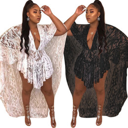 Fashion Plus size Summer Cape Dress Sexy Casual Lace Dresses Women Clothing Sexy Deep V Neck Black White Cloak Dresses