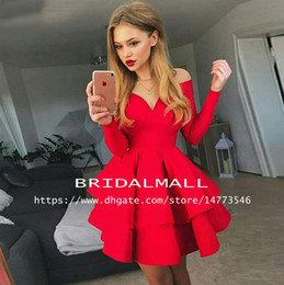 New 2019 Red Satin Long Sleeve Homecoming Dresses Off the Shoulder 8th Grade Short Prom Dresses Cheap Ruffles Cocktail Party Gowns For Teens