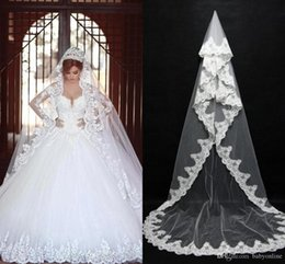 2019 Cheap In Stock Long Bridal Veils Lace Bridal Wedding Accessories Long Appliques Edged Cathedral Formal Wedding Veils
