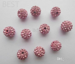 Best HOT fashion 10mm Pink Micro Pave CZ Disco Ball Crystal Bead Bracelet Necklace Beads.DIY for bracelet can choose color
