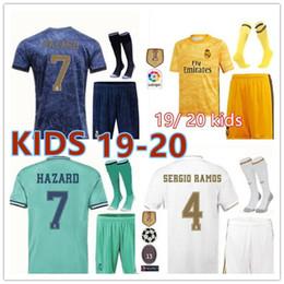 kids kits Real Madrid soccer jersey 2019 2020 HAZARD MORATA MARCELO SERGIO RAMOS KROOS ISCO KIDS1819 Goalkeeper jersey kit