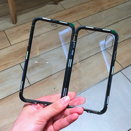 Magnetic Adsorption Metal Frame Case Back+front Tempered Glass Full cover for IPhone XS XR XS MAX 6 6s+ 7 8 PLUS 100pcs lot