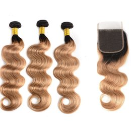 Ombre Brazilian Hair Bundles With Lace Closure Virgin Human Hair Weaves 1B 27 Straight Body Wave Remy Hair Extensions