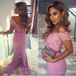2019 Pink Off Shoulder Mermaid Prom Dresses Lace Beaded Formal Party Gowns With Buttons Maid Of Honor Bridesmaid Dresses