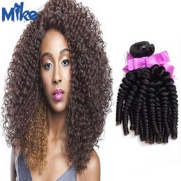 MikeHAIR Natural Color Cheap Human Hair Bundles 100g pc Brazilian Kinky Curly Human Hair 4Pcs Peruvian Indian Mongolian Human Hair Free Ship