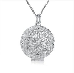 Fashion 925 Silver Necklaces Pendant Hallow Necklace With Chains Pendant Lockets Circle For Women Gift LKNSPCP167