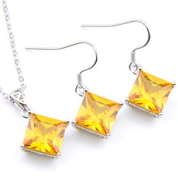 Lucky Shine Fire Square Yellow Cubic Zirconia Crystal Gems 925 Sterling Silver Wedding Pendants Earring Set Hot sell