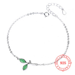Fashion Simple Leaf design 925 Sterling Silver Bracelet For Women handmade charm Olive Branch Leaf Korea bracelet