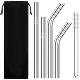 Stainless steel Drinking Straw for 20 oz 30 oz mug Durable food grade Metal Straws Straight Bent eco friendly Barware Family kitchen