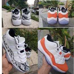 Low SE Snakeskin Light Bone 11s Mens Basketball Shoes Orange Trance sneakers Cheap Good Quality Discount Sports 11 White Orange trainers