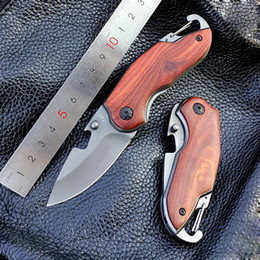 MINI X48 Titanium Folding Knife Wood Handle Survival Tactical Pocket Knife Small Camping Knives EDC Tools