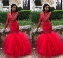 2019 New Arrival Long Red Prom Dresses Black Girls Long Sleeves Lace Applique Beads Evening Gowns Formal Party Dresses Robe Vestidos