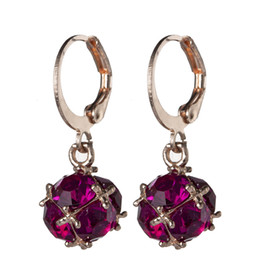 NEW Luckyshine 12 Pair  Lot Rose Gold Red Gems Dangle Earrings Lovely small and exquisite crystal Stone Earrings Europe popular Women