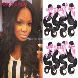 Glamorous High Quality Virgin Human Hair 4 Bundles 100% Real Human Hair Weaves Unprocessed Brazilian Malaysian Indian Body Wave Hair Weft