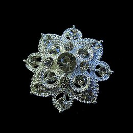 Silver Alloy Flower Crystal Brooch 1.25 Inch Diamante Pins