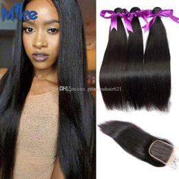 MikeHAIR Lace Closure With Brazilian Hair Bundles 3Pcs Straight Human Hair Weave Indian Malaysian Peruvian Hair Extensions with Lace Closure