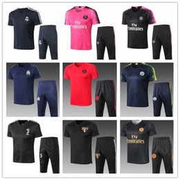 19 AAquality real madrid soccer survetement short sleeves 3 4 pants tracksuit chandal training football RONALDO shirt kit chandal set