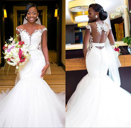 2020 White Mermaid Sexy African Bridal Dress Wedding Gown Backless Sheer Neck Bride Dresses Plus Size Appliques Illusion