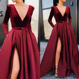 Burgundy Deep V Neck Satin Prom Dresses A Line Long Sleeves Ruched Evening Dresses High Split Floor Length Formal Party Evening Dresses