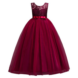Princess Burgundy Lace Flower Girl Dresses 2019 Tulle Girls Pageant Dresses First Communion Dresses Pink Lovely Kids Evening Gowns MC0889