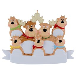 Maxora Reindeer Family Of 7 Resin Hanging Personalized Christmas ornaments As For Holiday or New Year Gifts