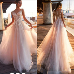 Simple Beach Country Lace Appliques A Line Wedding Dresses Sheer Scoop Neck Tulle Covered Button Tulle Long Bridal Wedding Gowns