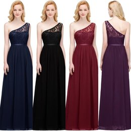 In Stock One Shoulder Lace Cheap Long Bridesmaid Dresses Chiffon Ruched Sash Wedding Guest Party Dresses Maid Of Honor Evening Wear CPS818