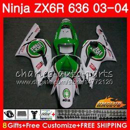 Body For KAWASAKI Lucky Strike NINJA ZX600 ZX636 ZX-6R 03 04 ZX-636 36HC.5 ZX 636 6 R 600CC ZX6R 03 04 ZX 600 ZX 6R 2003 2004 Fairing kit