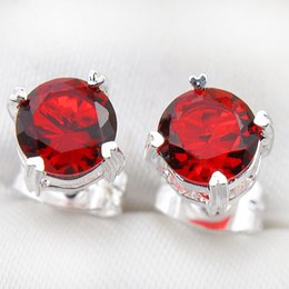 12 Pairs 5mm Luckyshine Superb Round Shiny Red Quartz Gems Silver Zircon Earrings Wedding Gift For Women Stud Earrings Jewelry