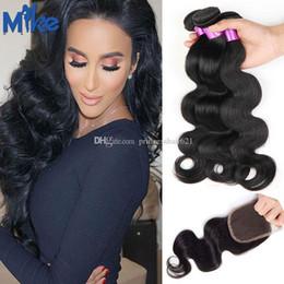 MikeHAIR Brazilian Body Wave Hair 3 Bundles With Closures Peruvian Indian Malaysian Unprocessed Human Hair With Lace Closures 4Pcs Lot