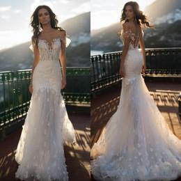 Naviblue 2020 Full Lace Wedding Dresses Off Shoulder Appliqued Beading Mermaid Bridal Gowns Sweep Train Beach Wedding Dress vestido de novia