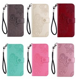 Imprint Owl Leather Wallet Case For Huawei P30 Pro P Smart 2019 Nova 4 Galaxy S10 Lite Plus Flower Lace Cute Card Slot PU Flip Cover Strap