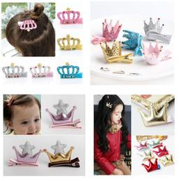 24 colors Girls Korean Baby Glitter crown star Hair clips Tiaras Fashion sequine Hair Barrette Hairpins Chlidren hair Accessoriess headdress